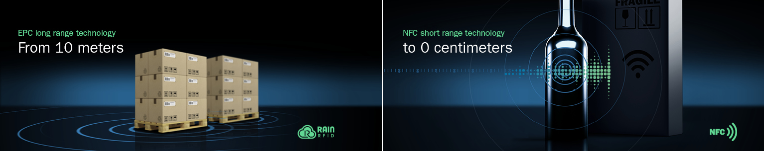 From 10 meters: EPC longe range technology - Rain RFID to 0 centimeter: NFC Short range technology